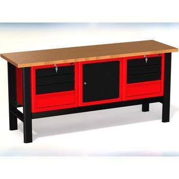 Stół warsztatowy N-3-16-01 – z 3 szafkami (2 x 4szuflad+1drzwiczki)