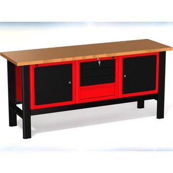 Stół warsztatowy N-3-17-01 – z 3 szafkami (1 x 4szuflady + 2 x 1drzwiczki)