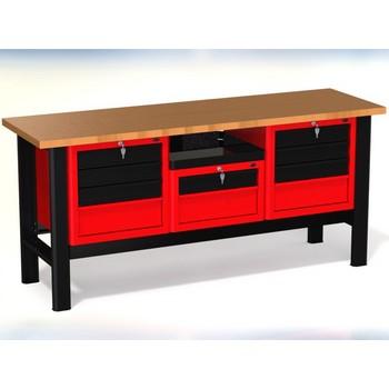 Stół warsztatowy N-3-20-01 – z 3 szafkami (2 x 4 szuflady + 1 x 2 szuflady)+1 półka
