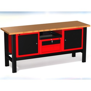 Stół warsztatowy N-3-22-01 – z 3 szafkami (1 x 2 szuflady + 2 x drzwiczki)+1 półka
