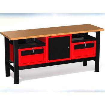 Stół warsztatowy N-3-23-01 – z 3 szafkami ( 2 x 2 szuflady + 1 x drzwiczki) + 2 półki