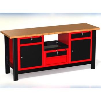 Stół warsztatowy N-3-26-01 – z 3 szafkami (1 x 2szuflady + 2 x drzwiczki z szufladą) +1 półka