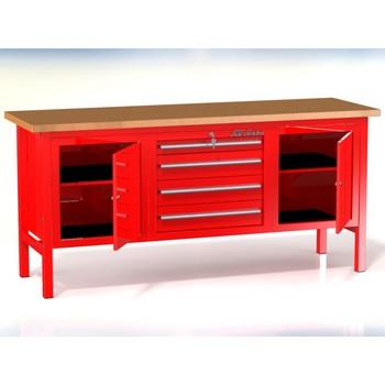 Stół warsztatowy P-3-17-01 z 3 szafkami (4szuflady+2drzwiczki)